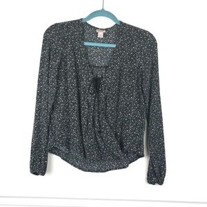 Mossimo Black Floral Wrap Long Sleeve Blouse